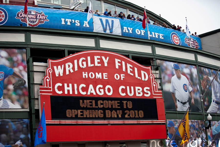 chicago wedding photographer. chicago cubs home opener at wrigley field