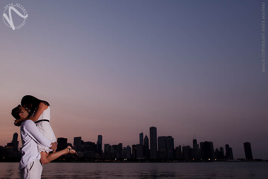 great photography for Ekta and Dig's Downtown Chicago Portraits by chicago wedding photographer nate mathai