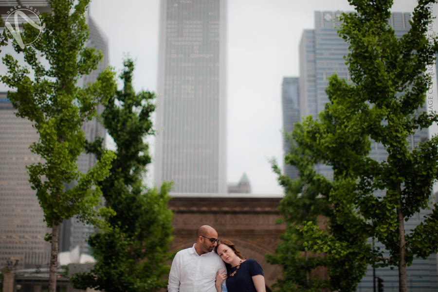 great photography for Jenn + Raman's Downtown Chicago Portraits Teasers by chicago wedding photographer nate mathai